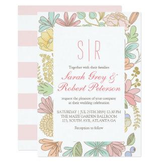Frühlings-Blumen-Gekritzelchic-Hochzeits-Einladung Karte