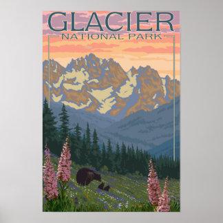 Frühlings-Blumen - Gletscher-Nationalpark, M.Ü. Poster