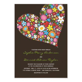 Frühlings-Blumen-Herz-wunderliche Hochzeit laden 12,7 X 17,8 Cm Einladungskarte