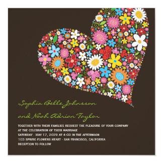 Frühlings-Blumen-Herz-wunderliche Hochzeit laden Quadratische 13,3 Cm Einladungskarte