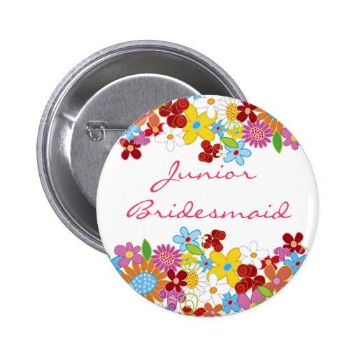 Frühlings-Blumen JUNIORbrautjungfer Hochzeits-Name Buttons