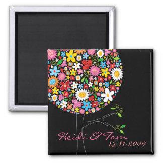 Frühlings-Blumen-Pop-Baum wunderlich Save the Date Quadratischer Magnet