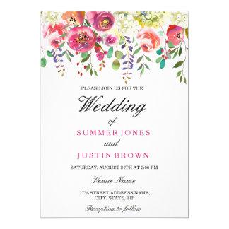 Frühlings-Blumen-rosa Pfirsich-Hochzeits-Einladung Karte