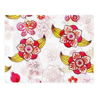 Frühlings-Blumen u. Marienkäfer Postkarte