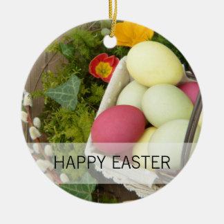 Frühlings-Blumen und Korb von Ostereiern Keramik Ornament
