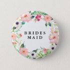 Frühlings-Blumenbrautjungfern-Hochzeit Runder Button 5,7 Cm