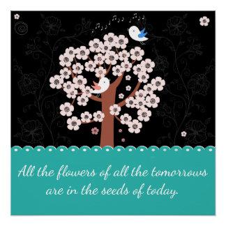 Frühlings-Blumengarten-Ermutigungs-Zitat Poster