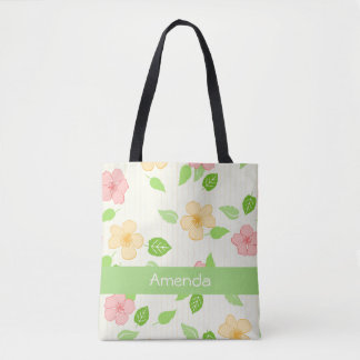Frühlings-Blumenmuster-Monogrammtasche Tasche