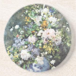 Frühlings-Blumenstrauß durch Pierre Renoir, Sandstein Untersetzer
