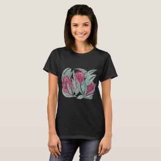 Frühlings-Blument-shirt auf schwarzem Hintergrund T-Shirt