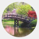 Frühlings-Brücke Runde Aufkleber
