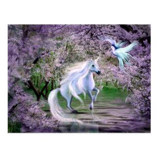 Frühlings-Einhornphantasie Postkarte