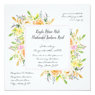 Frühlings-elegante Hochzeits-mit Blumeneinladung Karte