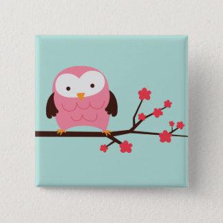 Frühlings-Eule Quadratischer Button 5,1 Cm