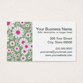 Frühlings-Gänseblümchen-weißes rosa Grün Visitenkarte