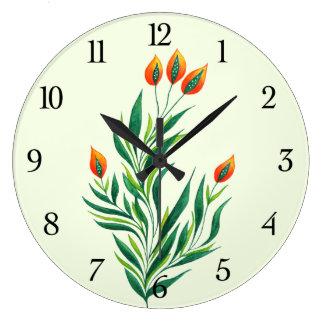 Frühlings-grüne Pflanze mit den orange Knospen Große Wanduhr