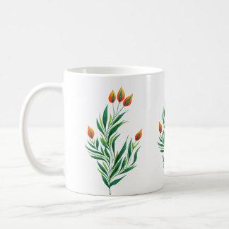Frühlings-grüne Pflanze mit den orange Knospen Kaffeetasse
