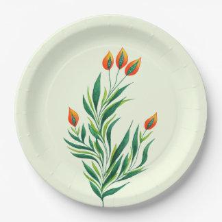 Frühlings-grüne Pflanze mit den orange Knospen Pappteller