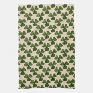 Frühlings-grünes irisches Kleeblatt-Muster Geschirrtuch