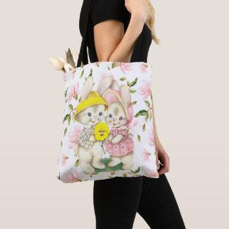Frühlings-Häschen-Paar-BlumenTaschen-Tasche Tasche