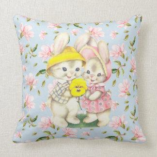 Frühlings-Häschen-Paar-BlumenWurfs-Kissen Kissen