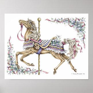 Frühlings-Karussell-Pferdezeichnendes Federplakat Poster