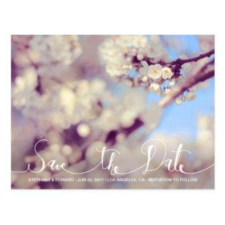 Frühlings-Kirschblüten-Save the Date Foto-Postkart Postkarten