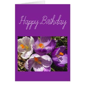 Frühlings-Krokus-alles- Gute zum Geburtstagkarte Karte