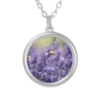 Frühlings-Lavendel mit Bienen-lila Blumen Versilberte Kette