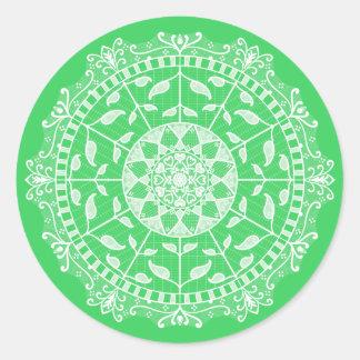 Frühlings-Mandala Runder Aufkleber