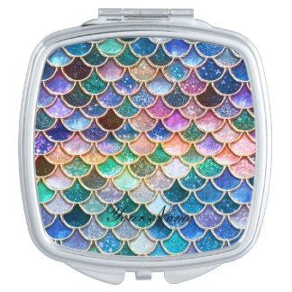 Frühlings-Meerjungfrau-Glitter-Skalen Taschenspiegel