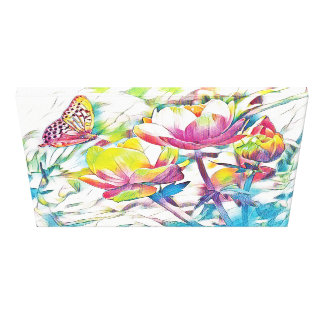 Frühlings-Morgen - Schmetterling und Blumen Leinwanddruck