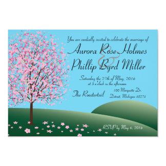 Frühlings-rosa Blumen-Baum-Hochzeits-Einladung Karte
