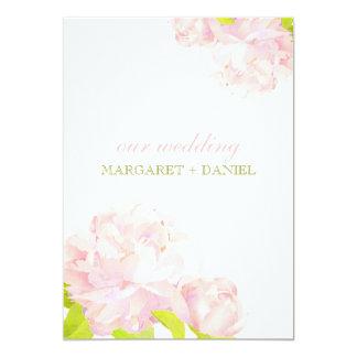 Frühlings-Rosa + Grüne böhmische 12,7 X 17,8 Cm Einladungskarte