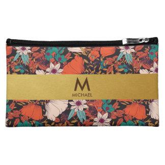 Frühlings-rote u. goldene Monogramm-Kosmetik-mit Cosmetic Bag