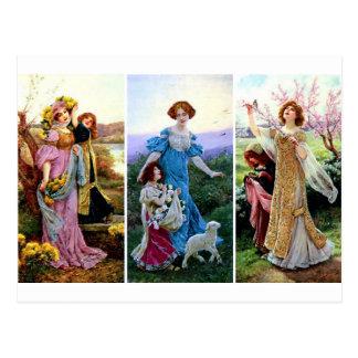 Frühlings-Saison-Kinderlamm-Damenmalereien Postkarten