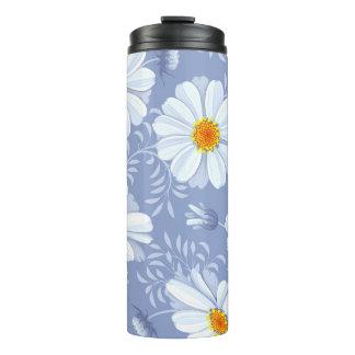 Frühlings-Sommer-weißes Blumen-Blau-Muster Thermosbecher