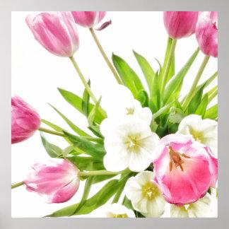 Frühlings-Tulpe-Blumenstrauß Poster