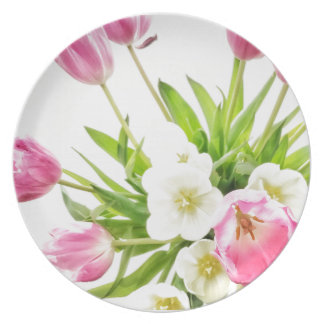 Frühlings-Tulpe-Blumenstrauß Teller