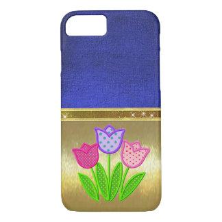 Frühlings-Tulpe-Schein-Goldentwurfs-Fall iPhone 8/7 Hülle