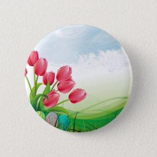 Frühlings-Tulpen und Ostereier Runder Button 5,1 Cm