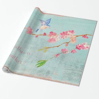 Frühlings-Vogel BlumenCherryblossom Wetter-Blau Geschenkpapier