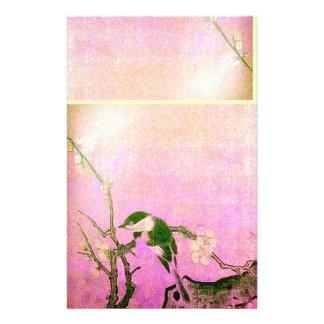 FRÜHLINGS-VOGEL-UND BLUMEN-BAUM Rosa-Fuchsie Personalisiertes Büropapier