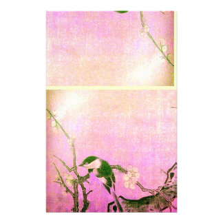 FRÜHLINGS-VOGEL-UND BLUMEN-BAUM Rosa-Fuchsie Druckpapier