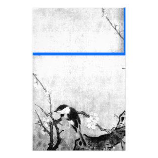 FRÜHLINGS-VOGEL-UND BLUMEN-BAUM Schwarz-weißes Individuelles Druckpapier