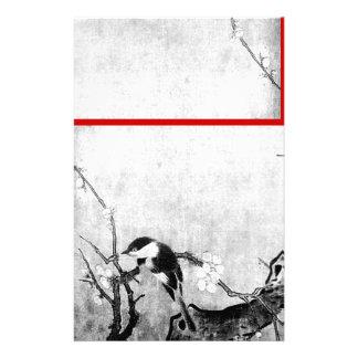 FRÜHLINGS-VOGEL-UND BLUMEN-BAUM Schwarz-weißes Rot Bedrucktes Papier