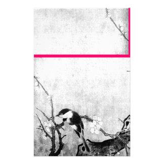 FRÜHLINGS-VOGEL-UND BLUMEN-BAUM Schwarz-weißes Rot Individuelles Druckpapier