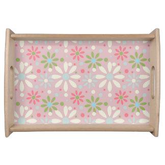 Frühlings-weißes, blaues und grünes Blumen-Muster Serviertablett