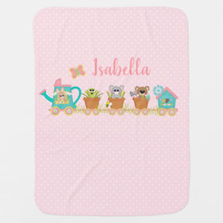 Frühlings-Zug-Tierbaby-Decken-Rosa-Punkte Kinderwagendecke