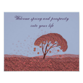 Frühlingsfeierplakat. Lila Plakat Kirschblütes